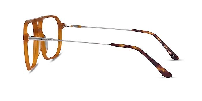 Iconic Mellow Yellow & Silver Acetate-metal Montures de lunettes de vue d'EyeBuyDirect