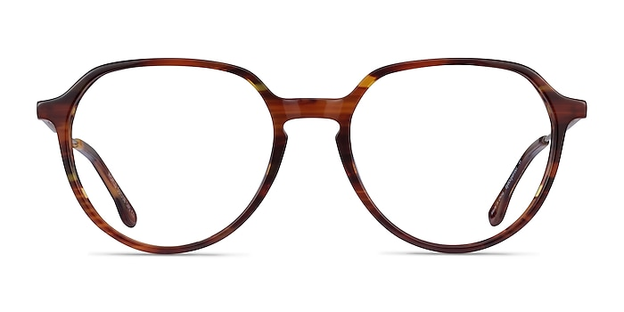 World Brown Striped Light Gold Acétate Montures de lunettes de vue d'EyeBuyDirect