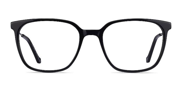 Confident Black Silver Acetate Eyeglass Frames from EyeBuyDirect