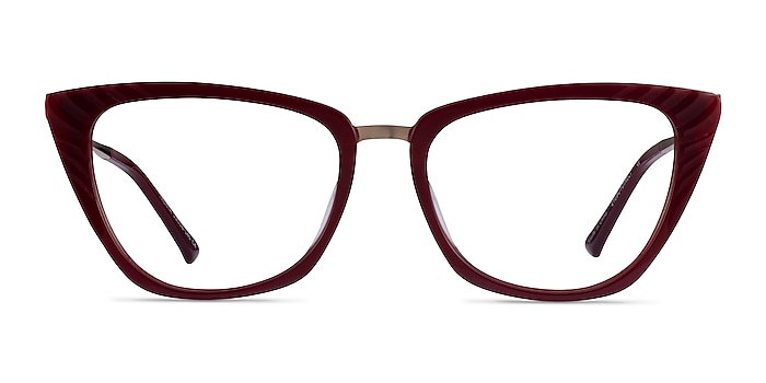Trenta Burgundy Gold Acetate Eyeglass Frames from EyeBuyDirect