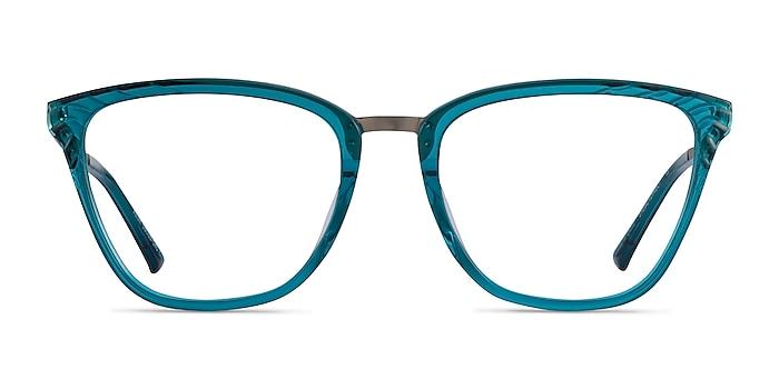 Azur Aqua Silver Acetate Eyeglass Frames from EyeBuyDirect