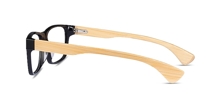 Taiga Black & Light Wood Acetate Eyeglass Frames from EyeBuyDirect