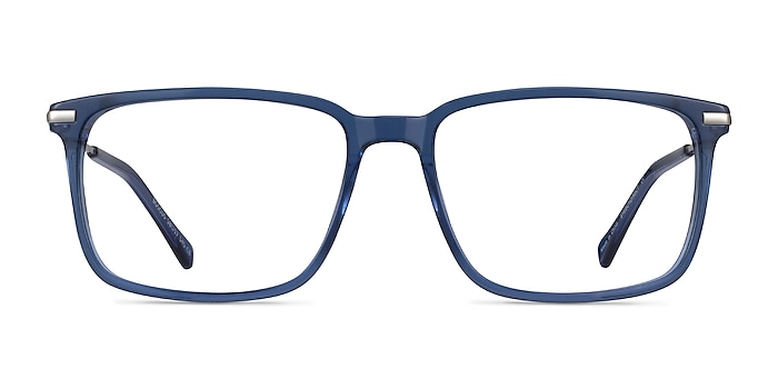 Boscus Clear Blue Silver Acetate Eyeglass Frames from EyeBuyDirect