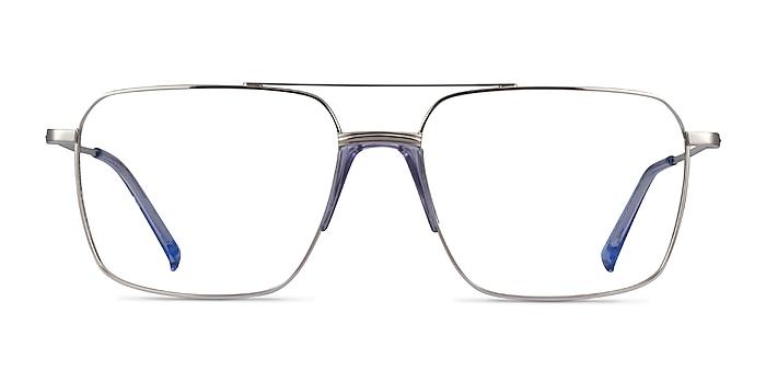 Matt Silver Blue Métal Montures de lunettes de vue d'EyeBuyDirect
