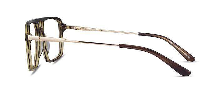 San Diego Striped Green Gold Acétate Montures de lunettes de vue d'EyeBuyDirect
