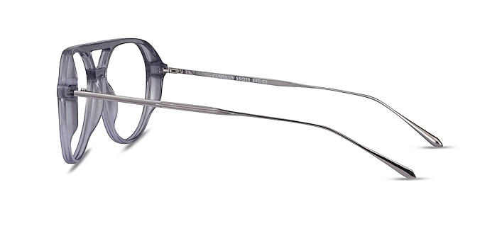 Cumulus Clear Gray Silver Acetate Eyeglass Frames from EyeBuyDirect