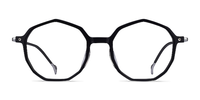 Carmelo Black Silver Acetate Eyeglass Frames from EyeBuyDirect