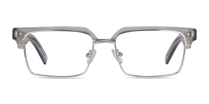 Byron Clear Gray Sliver Acétate Montures de lunettes de vue d'EyeBuyDirect