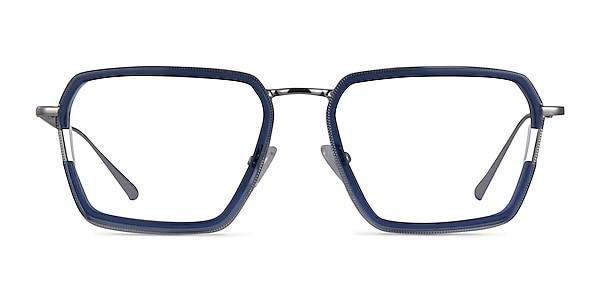 Tsundoku Clear Blue Silver Acetate Eyeglass Frames