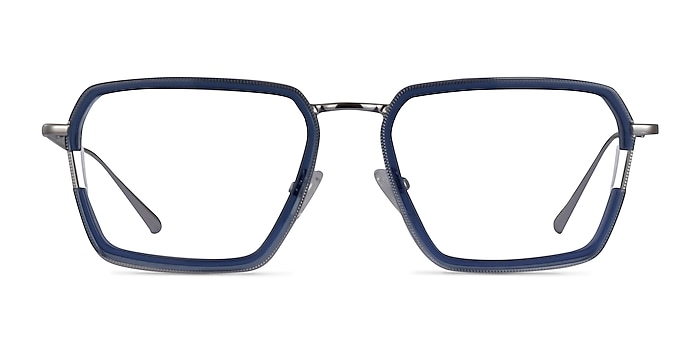 Tsundoku Clear Blue Silver Acetate Eyeglass Frames from EyeBuyDirect