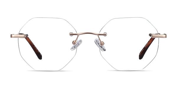 Generous Matte Gold Metal Eyeglass Frames