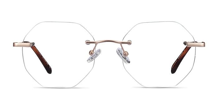 Generous Matte Gold Métal Montures de lunettes de vue d'EyeBuyDirect
