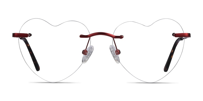 Amore Red Metal Eyeglass Frames from EyeBuyDirect