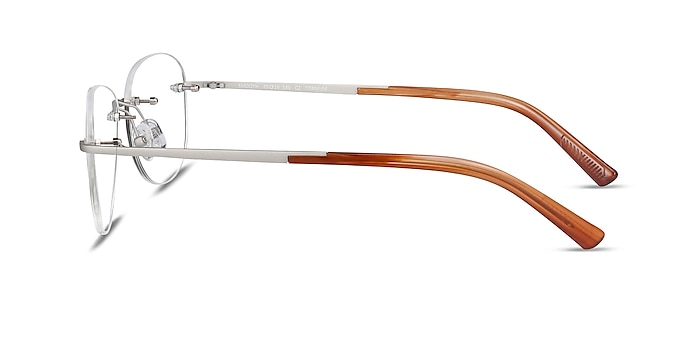 Smooth Silver Titanium Eyeglass Frames from EyeBuyDirect
