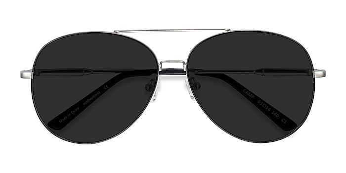 Black Silver  Camp -  Vintage Metal Sunglasses