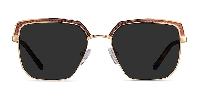 Inventus Brown Gold Metal Sunglass Frames from EyeBuyDirect