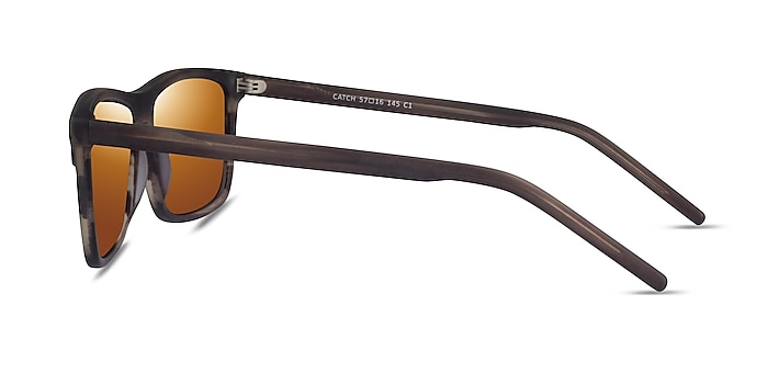 Catch Matte Striped Brown Acetate Sunglass Frames from EyeBuyDirect