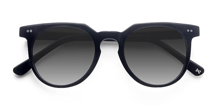 Jet Black Shadow -  Vintage Acetate Sunglasses
