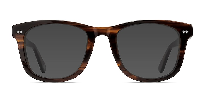 Nevada Brown Striped Acetate Sunglass Frames from EyeBuyDirect