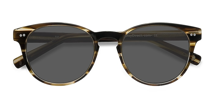 Brown Striped Till Dawn -  Vintage Acetate Sunglasses