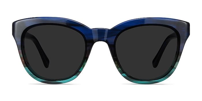 Tropic Blue Striped Acétate Soleil de Lunette de vue d'EyeBuyDirect