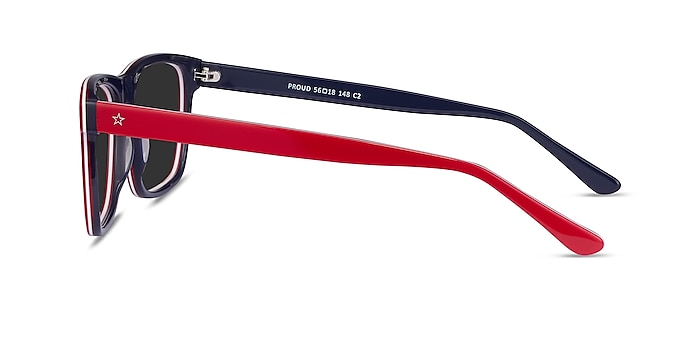 Proud Red & Navy Acetate Sunglass Frames from EyeBuyDirect