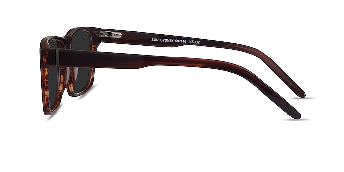 Sun Sydney Brown Striped Acetate Sunglass Frames from EyeBuyDirect