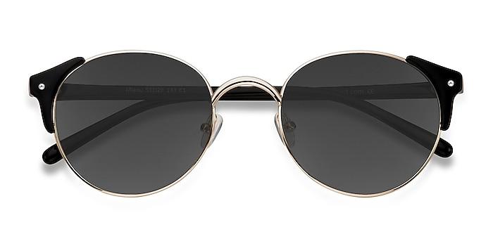 Golden Black Miaou -  Vintage Plastic, Metal Sunglasses