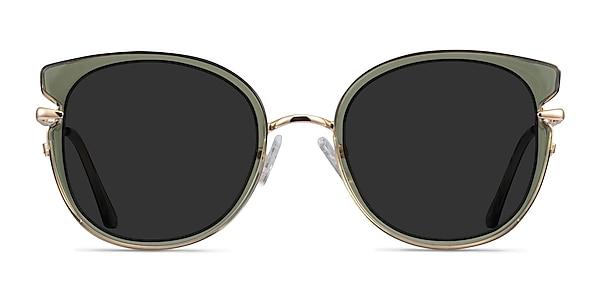 Fascination Clear Green Gold Acetate Sunglass Frames