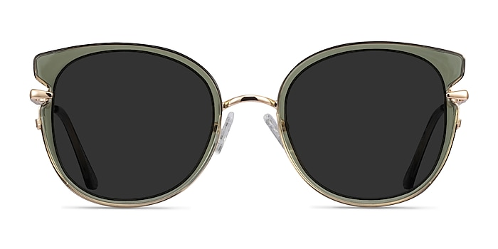 Fascination Clear Green Gold Acetate Sunglass Frames from EyeBuyDirect