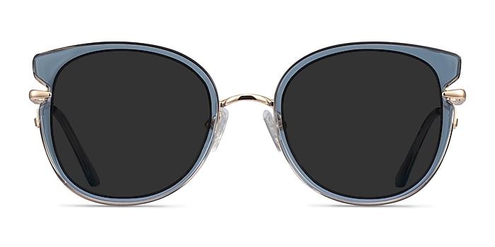 Fascination Clear Blue Gold Acétate Soleil de Lunette de vue d'EyeBuyDirect