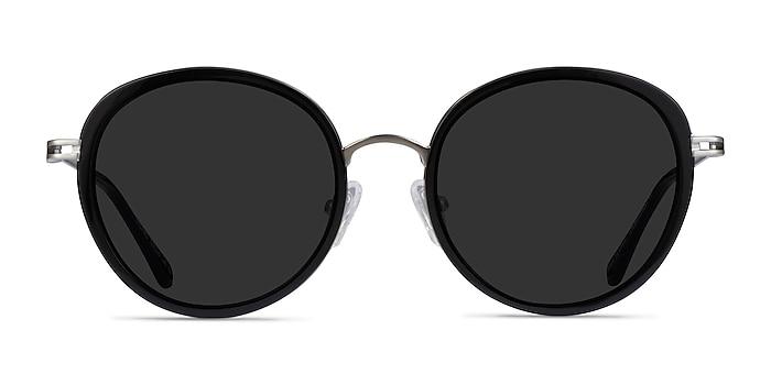 Nagano Black Silver Acetate Sunglass Frames from EyeBuyDirect