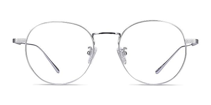 Geometry Silver Titanium Eyeglass Frames from EyeBuyDirect