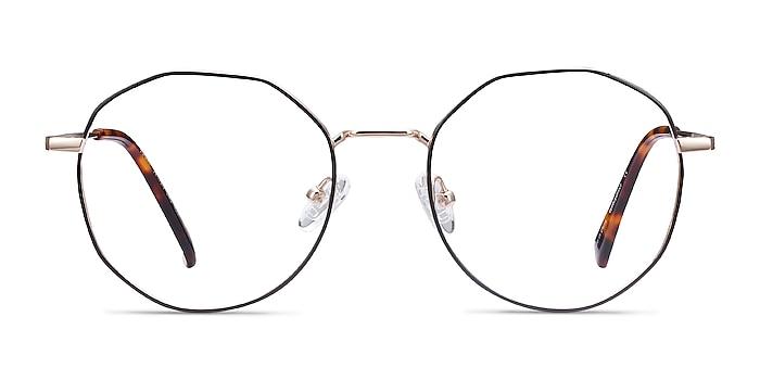 Julia Black & Gold Titanium Eyeglass Frames from EyeBuyDirect