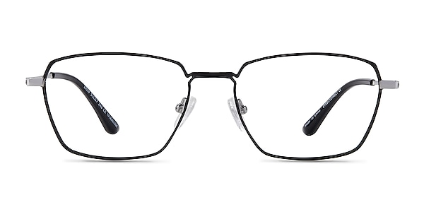 Eren Black Silver Titanium Eyeglass Frames