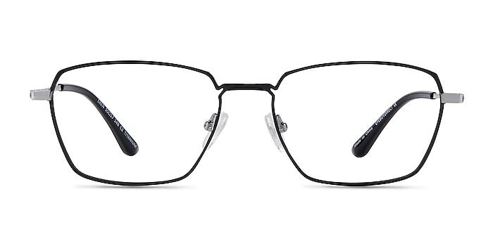 Eren Black Silver Titanium Eyeglass Frames from EyeBuyDirect
