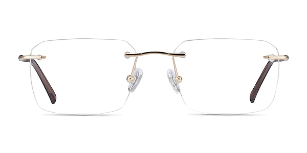 Nate Gold Brown Titanium Eyeglass Frames