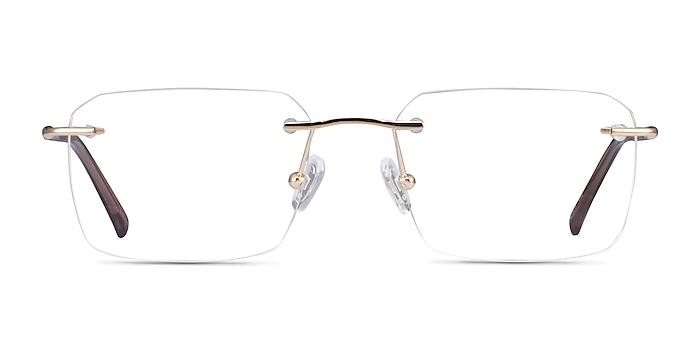 Nate Gold Brown Titanium Eyeglass Frames from EyeBuyDirect