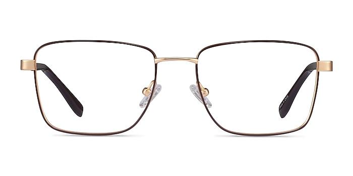 Bolton Gold Brown Titane Montures de lunettes de vue d'EyeBuyDirect