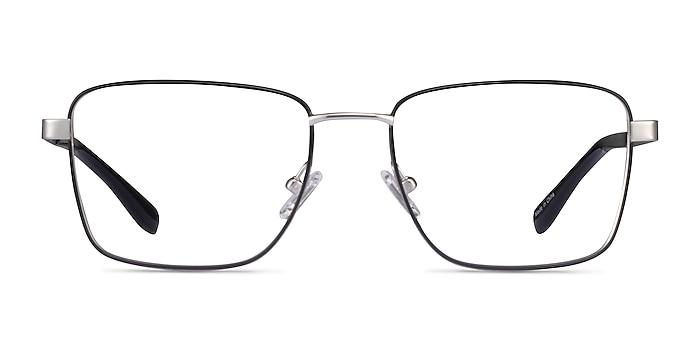 Bolton Silver Black Titanium Eyeglass Frames from EyeBuyDirect