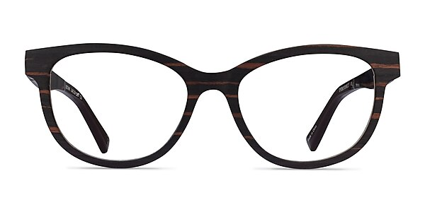Botany Striped Dark Wood Wood-texture Eyeglass Frames