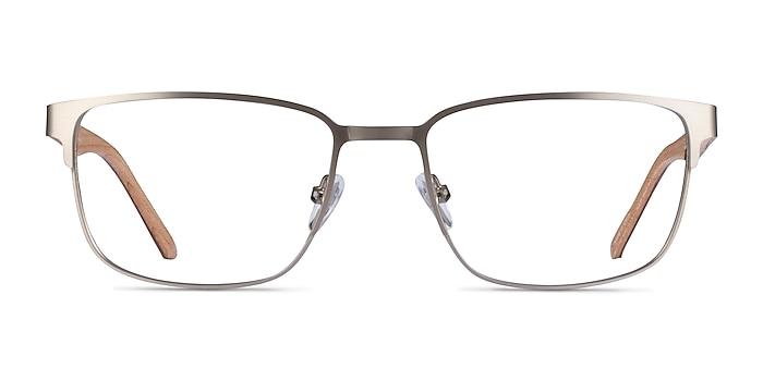 Silva Matte Silver Wood-texture Montures de lunettes de vue d'EyeBuyDirect