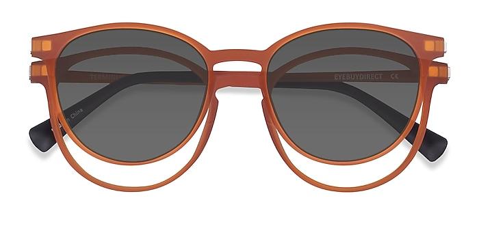 Matte Orange Terminus Clip-On -  Plastique Lunettes de vue