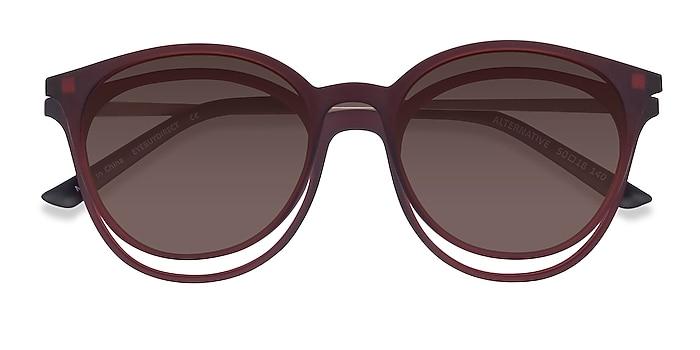 Matte Burgundy Alternative Clip-On -  Metal Eyeglasses