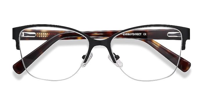 Black Feline -  Vintage Acetate, Metal Eyeglasses