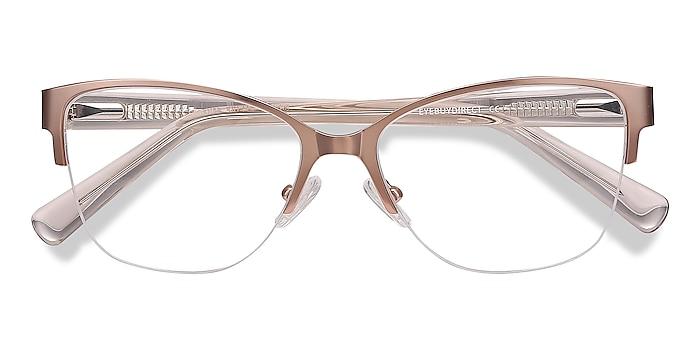 Rose Gold Feline -  Vintage Acetate, Metal Eyeglasses