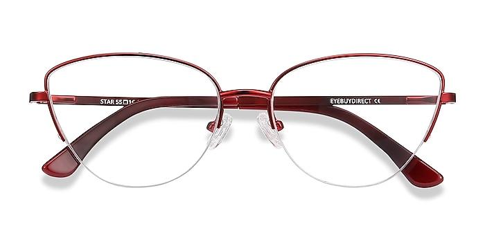 Burgundy Star -  Colorful Metal Eyeglasses