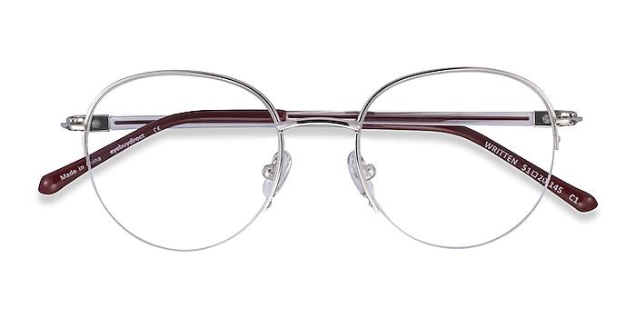 Silver Red Written -  Metal Eyeglasses
