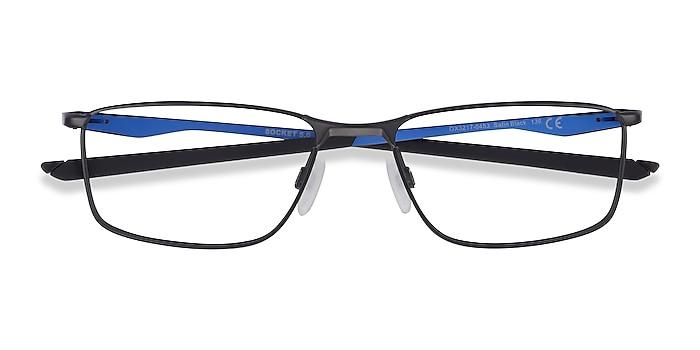 Satin Black & Blue Oakley Socket 5.0 -  Metal Eyeglasses
