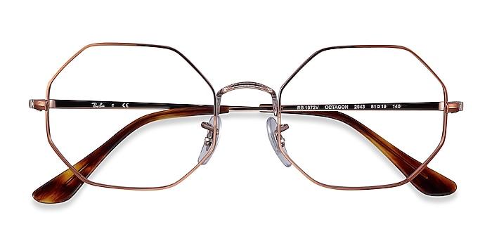 Bronze Ray-Ban Octagon -  Lightweight Metal Eyeglasses